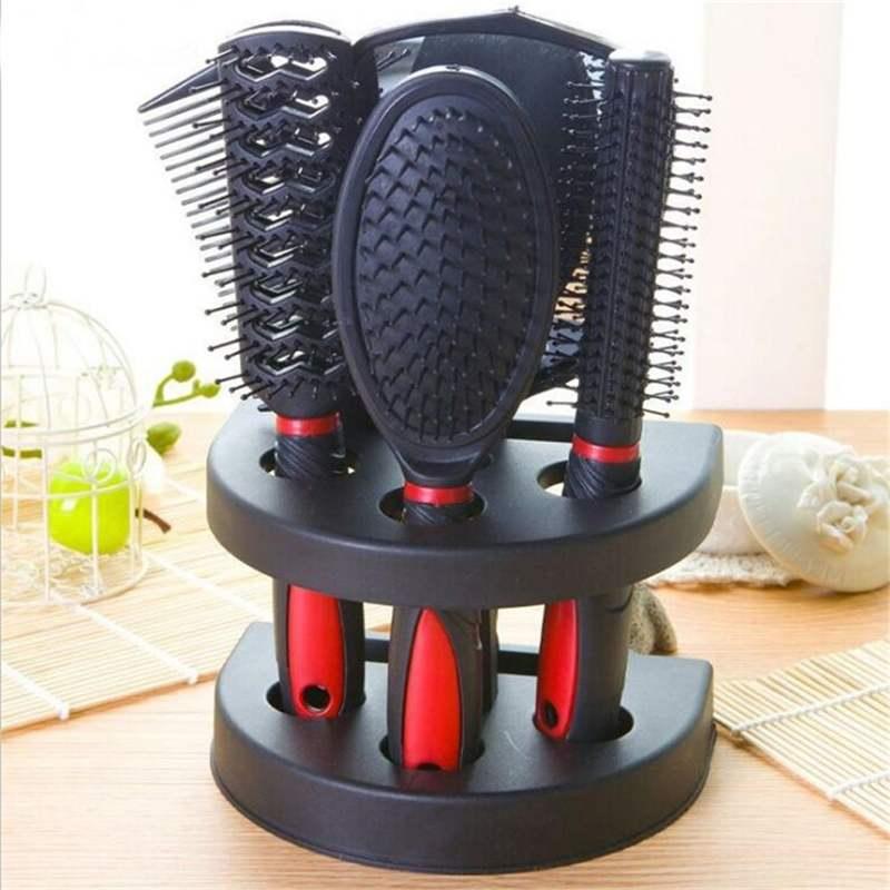 6 шт./компл. набор профессиональных щеток для волос, расчески + зеркало + держатель для хранения, расческа для волос, аксессуары для укладки во...