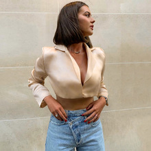 Blouses Women Fashion Suit OL Office Lady Shirts Sexy Crop T