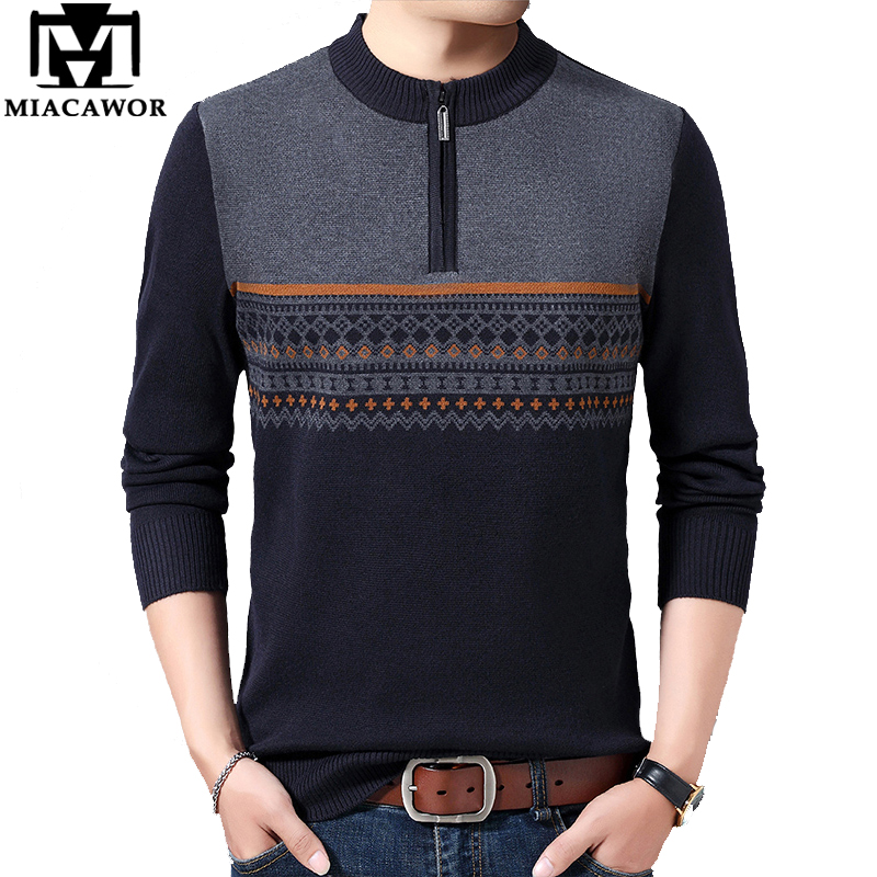 MIACAWOR New Sweater Men Casual Zipper Pullover Men Winter Warm Wool Sweaters Slim Fit Pull Homme Brand Men Clothes Y182