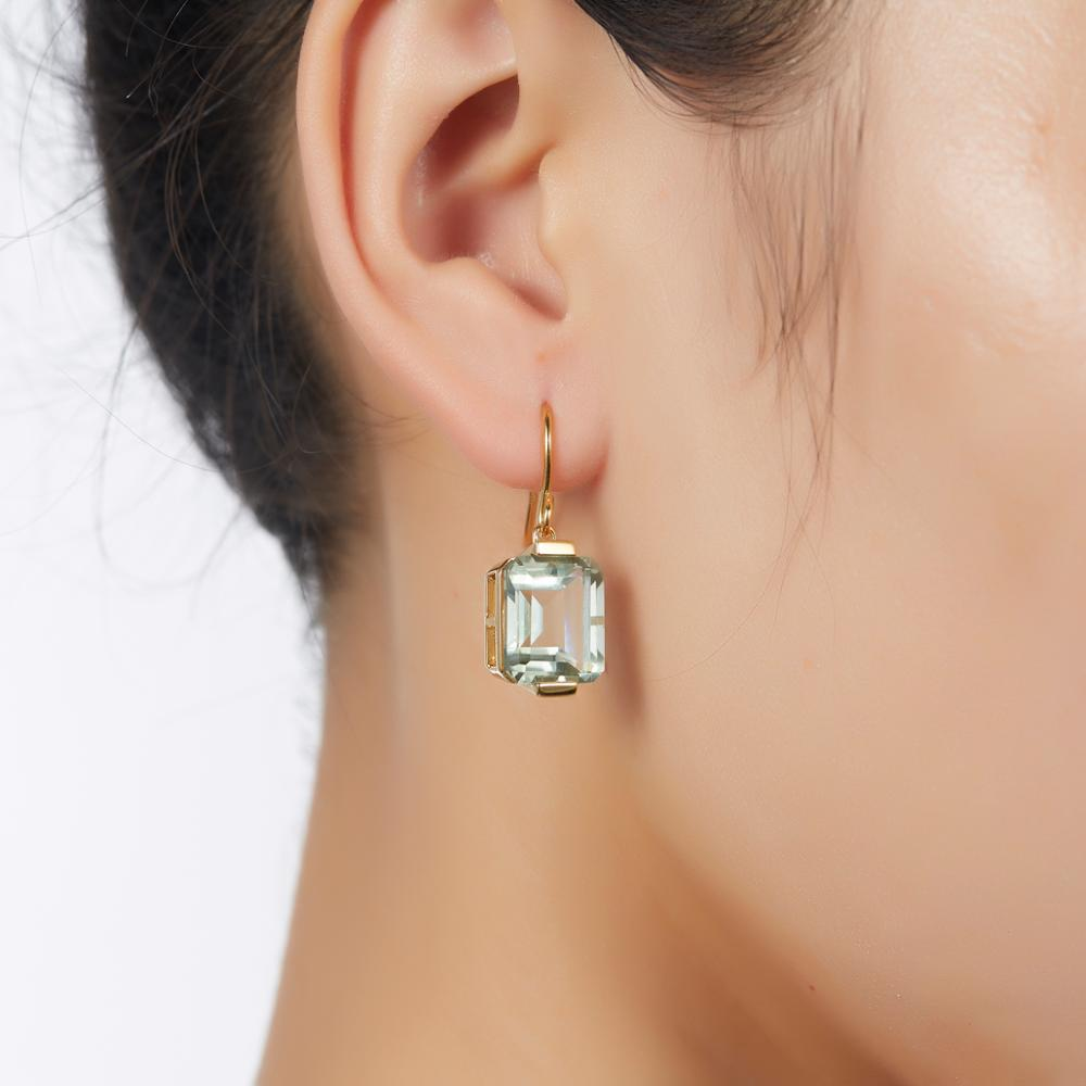 LP 11.14 Carats Natural Green Amethyst Dangle Earrings For Women 925 Sterling Silver 18K Yellow Gold Color  Fine Jewelry New
