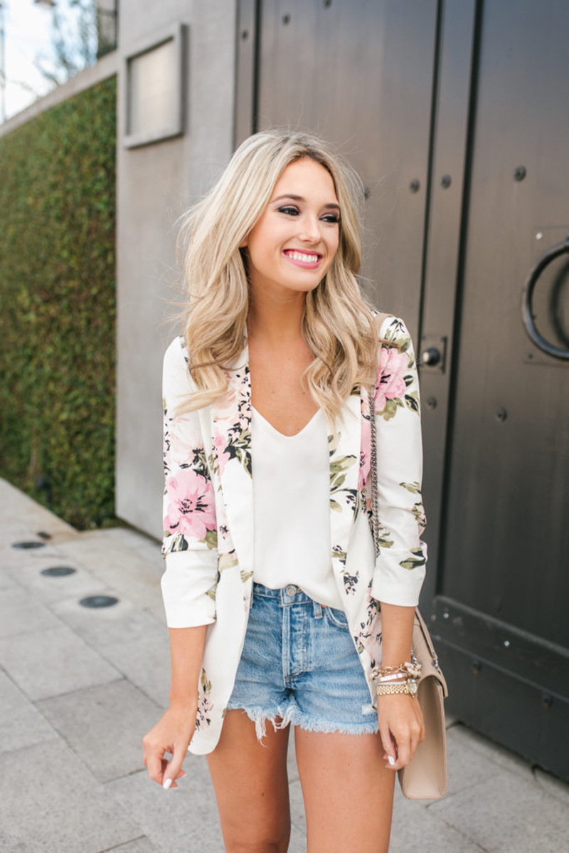 2020 New Fashion Elegant Print Blazer Feminino Women Floral Long Sleeve Blazer Notched Collar Coat Female Outerwear
