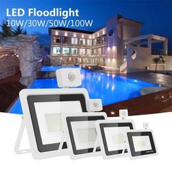 Светодиодный прожектор с пассивным ИК датчиком движения, белый корпус, 10 Вт, 20 Вт, 30 Вт, 50 Вт, 220 В переменного тока, водонепроницаемый садовый ...