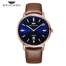 2019 New Fashion Mens Waterproof Watches Leather Strap Slim Quartz Casual Business Wrist Watch Top Brand Brigada Male Clock