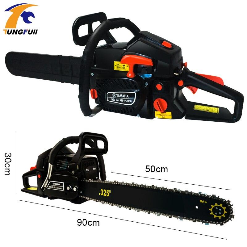 Sierra de cadena de gasolina para cortar madera herramientas eléctricas motosierra de gasolina 5000W 2 tiempos - 2