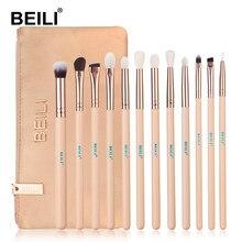 BEILI 12 adet profesyonel göz makyajı fırça seti doğal keçi saç pembe gül fırçalar makyaj Eyeliner kaş kozmetik çantası ile