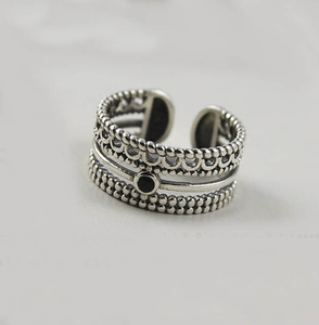 Exaggerated Punk Retro 925 Sterling Silver Multi-layer Rings for Women Boho Antique Rings Vintage Jewelry 2020