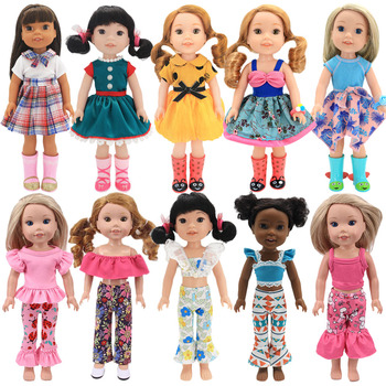 Doll Baby Clothes Suits Tops+Trousers Dress Skirts For 14.5 inch Wellie Wishers 38-40Cm Nancy American Doll Generation Girl`Toy image