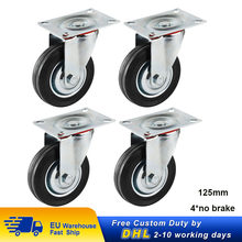 Ruedas de goma de alta resistencia para muebles, rueda Industrial de 125MM con placa fija, 4 Uds.