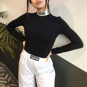 Sexy Sheath Rompers Women Bodysuit Long Sleeve Regular letter Turtleneck Jumpsuits Women Fashion Streetwear Outfits Overalls chic stand collar long sleeve rompers womens jumpsuits loose waist elastic drawstring streetwear robe slim overalls bodysuit