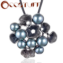 Винтажная бижутерия, длинное ожерелье для женщин, подвеска в виде цветка, бусины, цепочка, веревка на шею, украшение, подарки, большой массив...