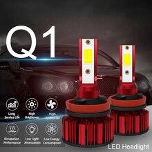 2pcs Q1 LED Headlight H8 H9 H11 Q1 12000LM 6000K 120W COB LED Car Headlight Kit Hi or Lo Light Bulb car accessories for Cars 120w 12000lm cob led headlight kit h8 h9 h11 low beam 6000k bulbs