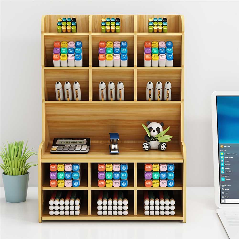 Multi-function Wooden Desktop Pen Holder Office School Stationery Storage Stand Case Desk Pen Pencil Organizer 3