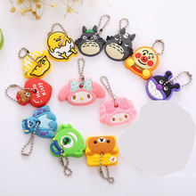 Fashion 2PCS A Set Cartoon Cute Key Cover Bear Totoro Silicone Key Chains Anime Hero Animal Car Key Rings Keychain(China)