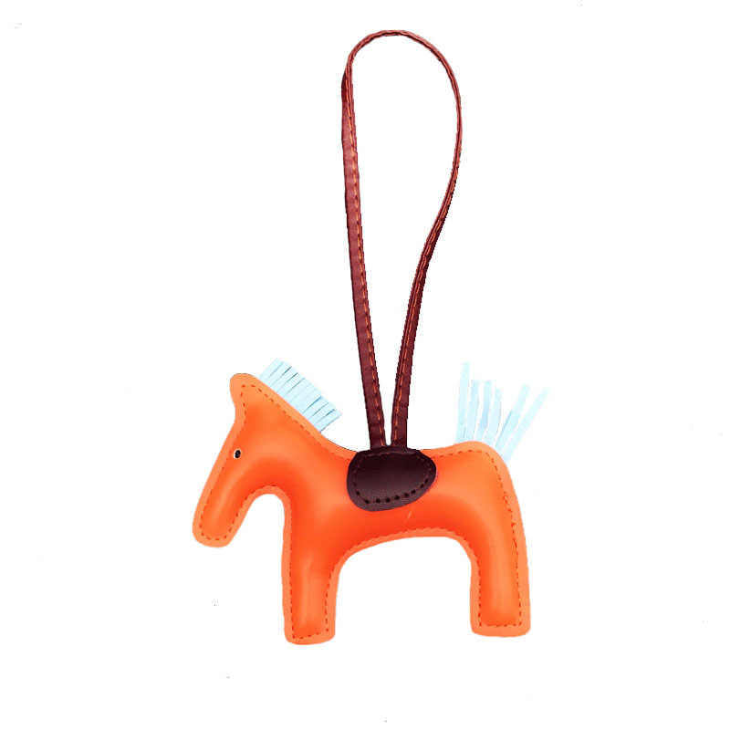 Horse Tassels Keychain PU Leather Pony Charm Pendant for Women Bag Handbag Backpack Ornament Key Chain Auto Car Decoration Gift