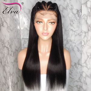 Image 2 - Elva שיער 370 תחרה פרונטאלית פאה מראש קטף מזויף קרקפת פאה ישר 13x6 תחרה מול שיער טבעי פאות עבור שחור נשים רמי שיער פאה