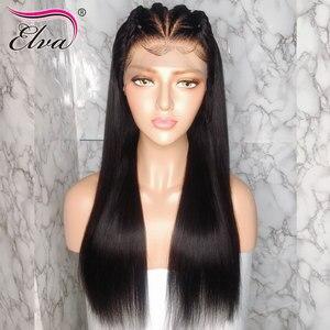 Image 2 - Elva cabelo 370 peruca frontal do laço pré arrancado falso peruca do couro cabeludo em linha reta 13x6 frente do laço perucas de cabelo humano para preto