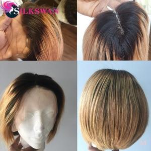 Image 4 - Silkswan Brasilianische Gerade Haar 13*4 Spitze Front perücken 1b/27 menschenhaar perücken für frauen Remy Haar 150% dichte Kurze Haare Perücke