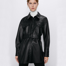 Fandy lokar пальто из искусственной кожи, женские модные тонкие куртки из искусственной кожи, женские элегантные куртки с поясом, карманами на талии и кнопках, пальто для женщин, женские IP