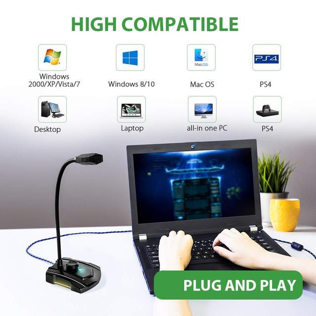 MAONO micrófono de ordenador GM30 USB, condensador omnidireccional para juegos, micrófono Plug & Play con silencio para grabar YouTube Skyp