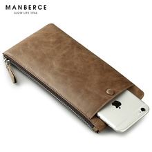 MANBERCE 2019New Soft Leather of Medium and Long Ultra-thin Zipper Wallet Pulled Away from Handbag Ladies Free Shipping