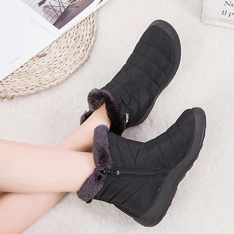 ฤดูหนาวใหม่รองเท้าผู้หญิง Antiskid ด้านล่างรองเท้าผู้หญิงฤดูหนาวบู๊ทข้อเท้าลงอุ่นรองเท้าบูท botas Mujer