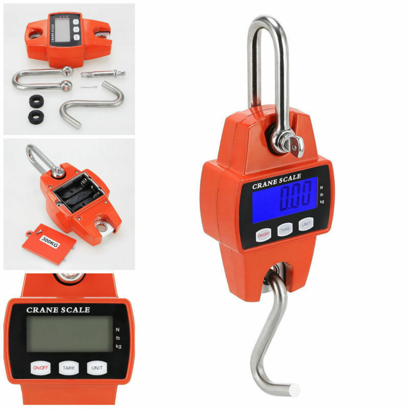 300KG 660LBS Mini Crane Scale Portable LCD Digital Electronic Balance Hanging Scales Heavy Duty Weight Tool for Home Farm Market
