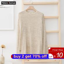Metersbonwe New Brand Linen Sweater Men  Autumn Fashion Long Sleeve Knitted Men Cotton Sweater High Quality Clothes