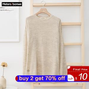 Image 1 - Metersbonwe New Brand Linen Sweater Men  Autumn Fashion Long Sleeve Knitted Men Cotton Sweater High Quality Clothes