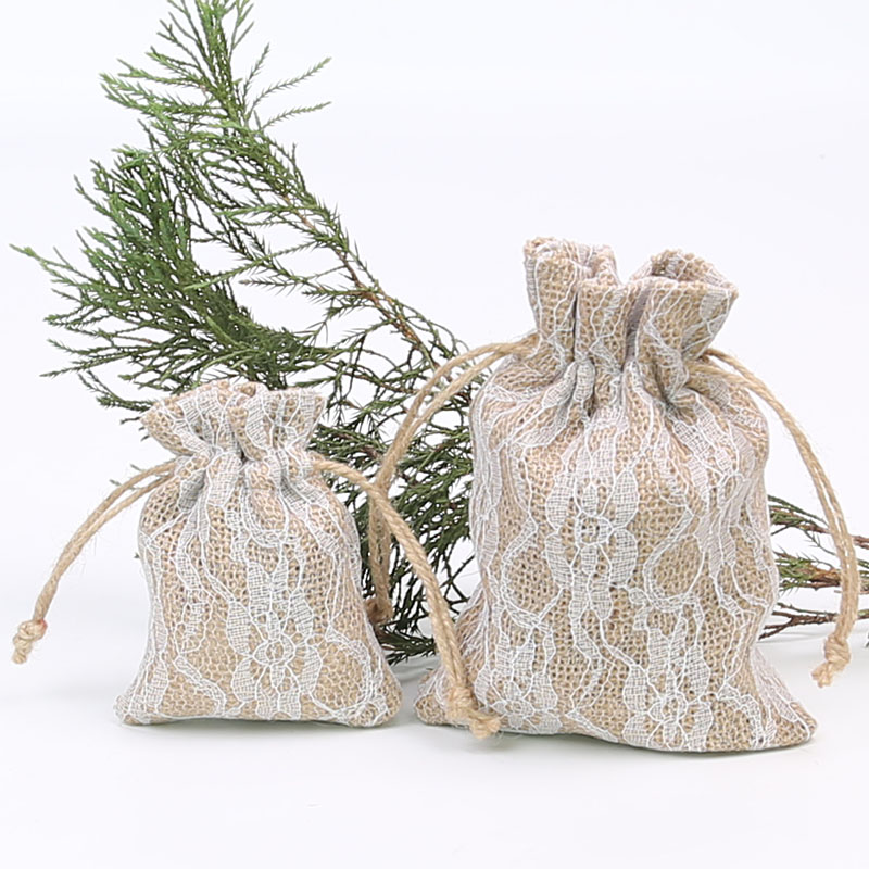 50 Pieces Of Christmas Wedding Lace Linen Bag 13 * 18cm Jewelry Gift Small Package Drawstring Bag Pouch