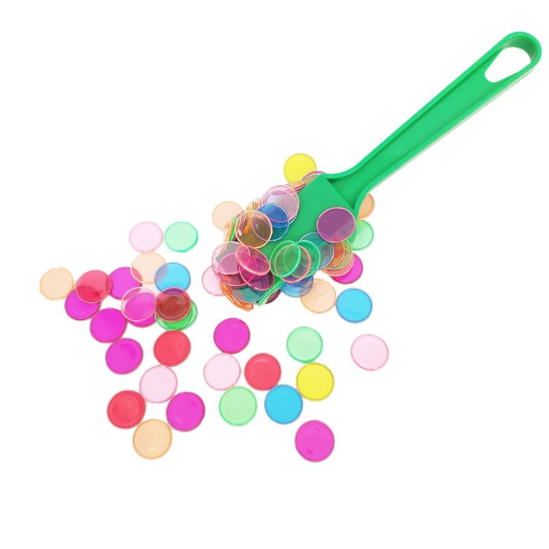 Montessori Learning Toys Magnetic Stick Wand Set With Transparent Color Counting Chips With Metal Loop