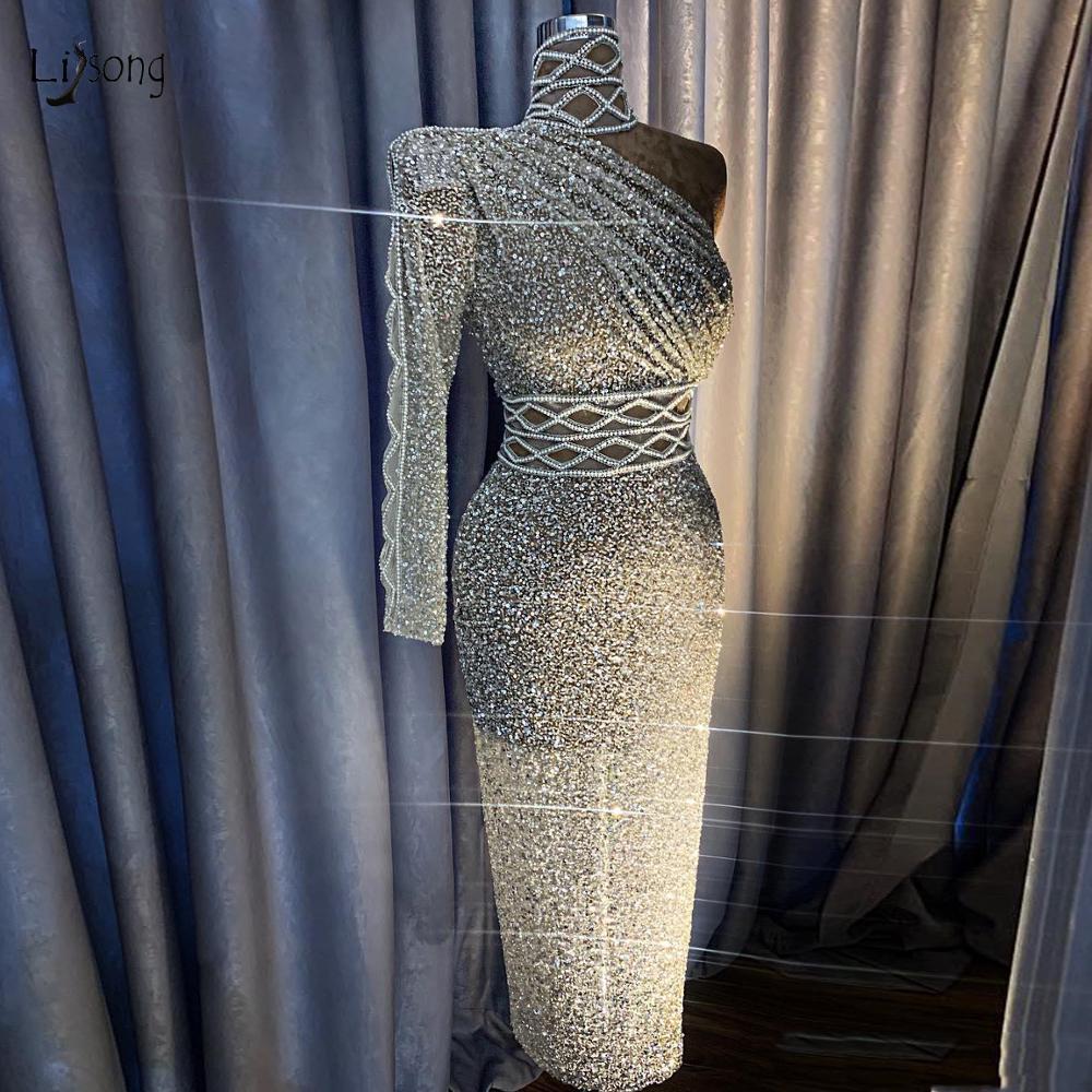 Paillettes argent cristal pailleté robes de bal droites de luxe une épaule strass robes de bal thé longueur col haut robes