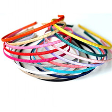 50pcs/lot 5mm Girls Hair Bands For Women Head Hoop Colored Satin Covered Metal DIY Handmade Party Headbands Baby Accessory