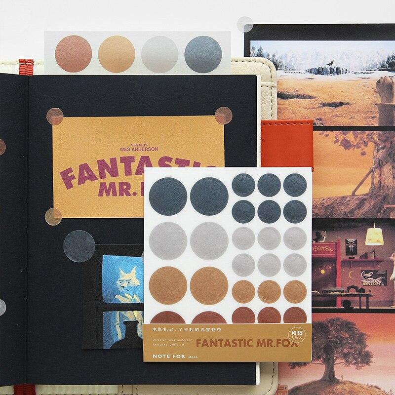 JIANWU 3Sheets Movie Series Round Dot Label Self Stationery Sticker Scrapbooking DIY Diary Decor Bullet Journal Supplies
