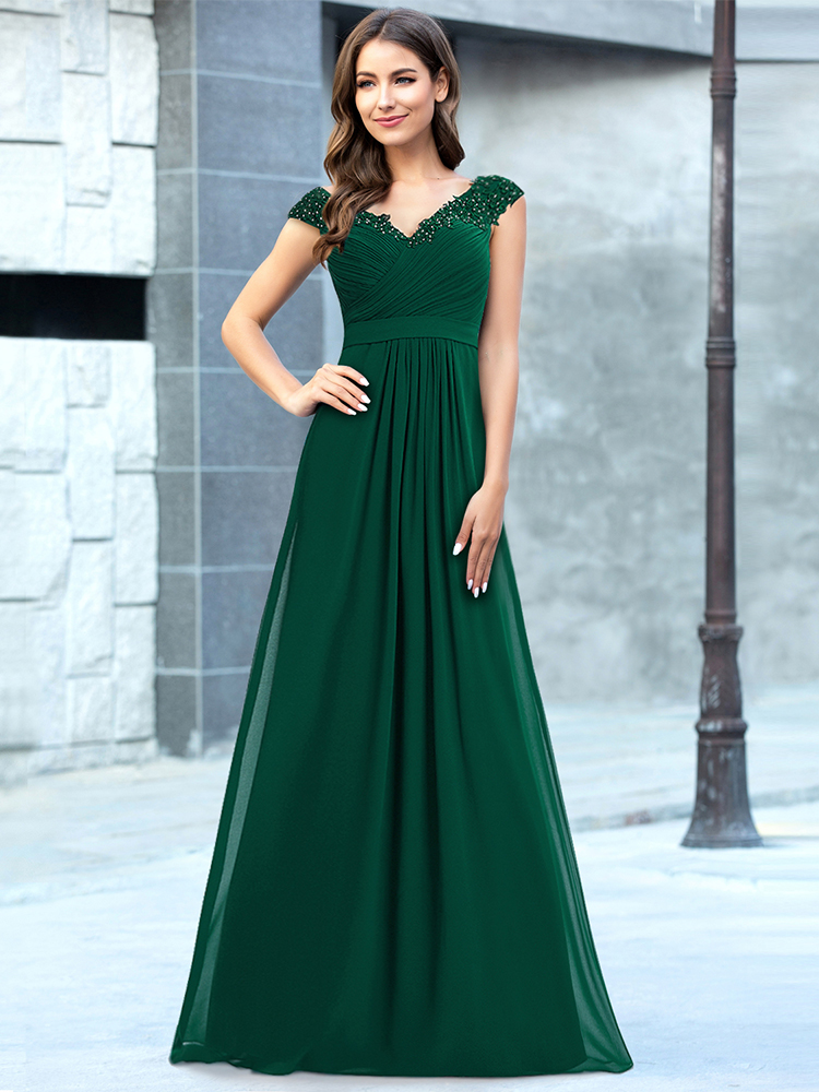 Evening-Dress Party-Gowns Robe-De-Soiree Appliques Wedding Formal Elegant V-Neck Long