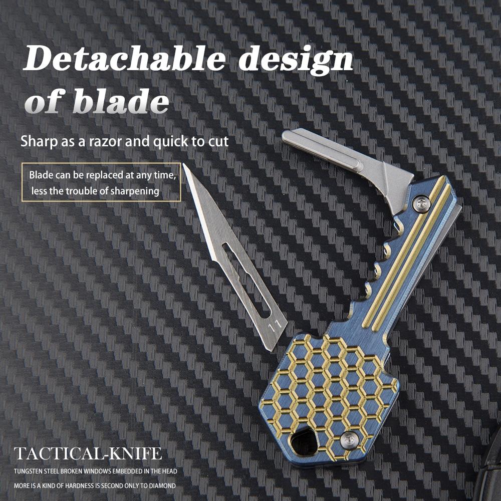 Tools : Mini titanium folding knife multi-function key carving EDC outdoor self-defense tool knife