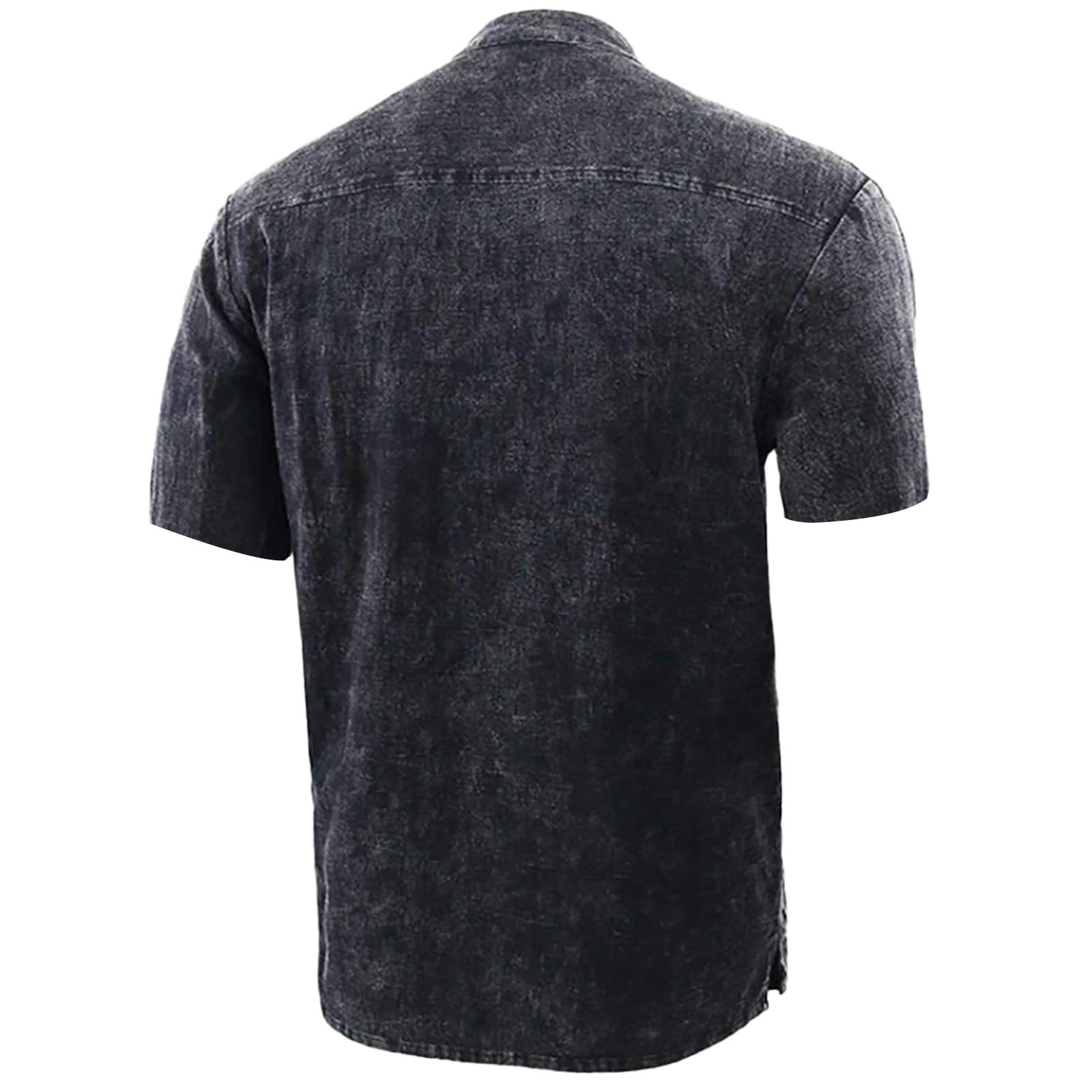 Men's T Shirt Casual Pure Color Short Sleeve Linen-cotton  2