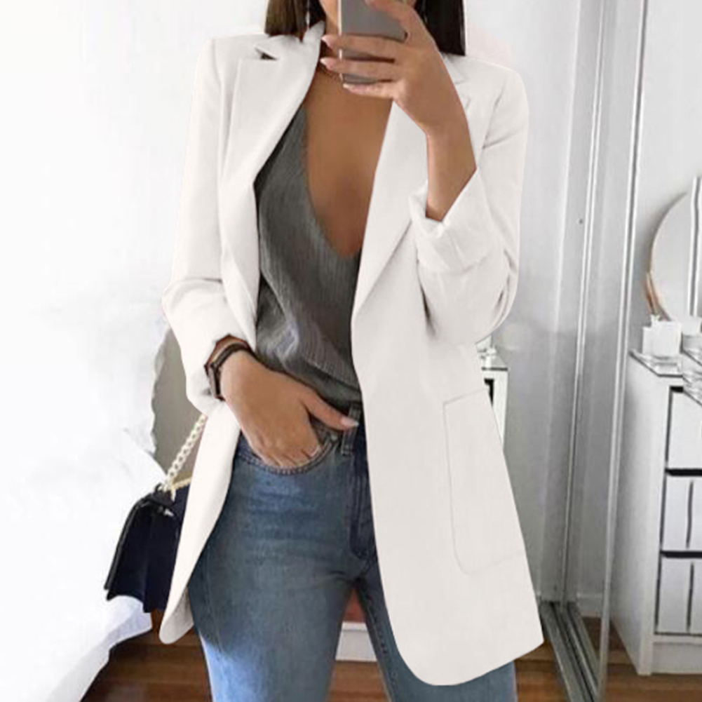Solid Long Style Black Women Jacket and Blazer Female Notched Collar Asymmetrical Ladies Blazer feminino Coat chaqueta mujer Bla