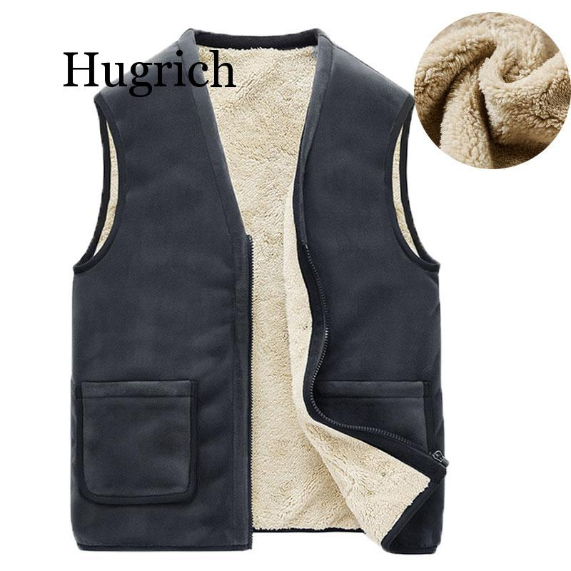 2020 Autumn Winter Casual Sleeveless Jacket Men Warm Fleece Mens Vest Jacket 5XL Black Thick Sleeveless Men's Vest Gilet