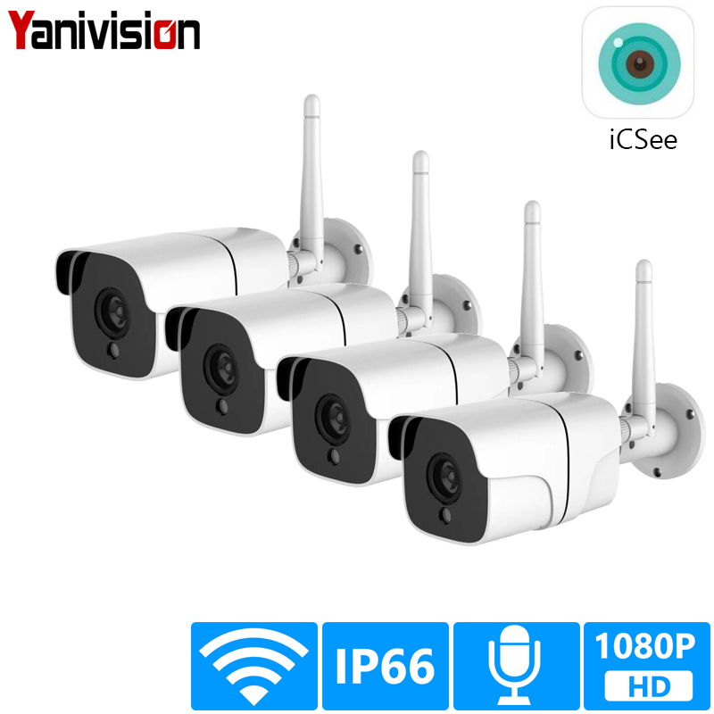 Wireless Security Camera System 1080P IP Camera Wifi SD Card Outdoor 4CH Audio CCTV System Video Surveillance Kit Camara