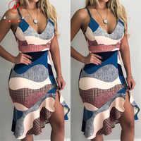 Women Streetwear Trumpet Dress Patchwork Design Ruffles Decor V-Neck Sling Print Asymmetrical Dress Elegant Lady Slim Hips Dress