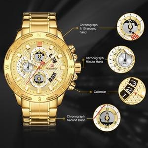 Image 2 - NAVIFORCE Luxury Brand Mens Sport Watches Gold Full Steel Quartz Watch Men Date Week Waterproof Military Clock Relogio Masculino
