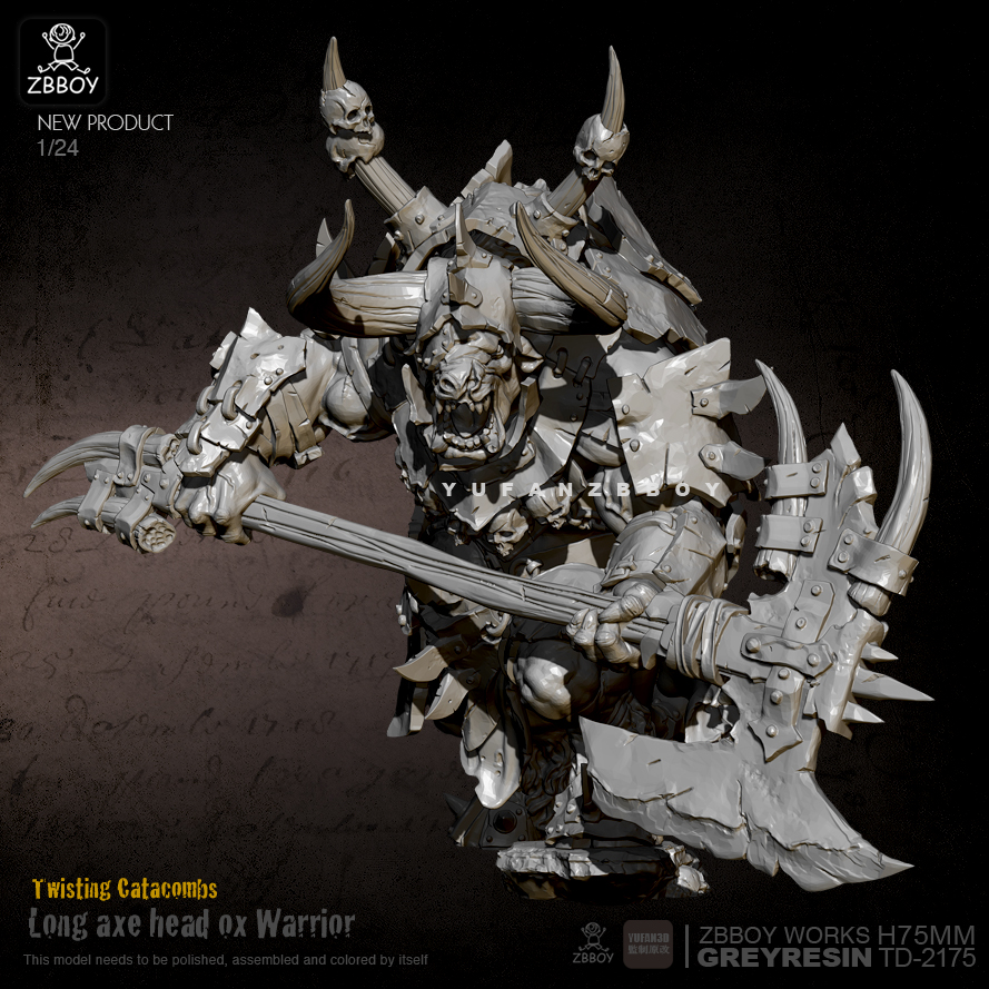 75mm Resin Figure Kits Minotaur General Axe Resin Model Self-assembled TD-2175