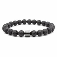 Simple Black Magnet Lava Stone Bead Bracelets for Men Women Charm Elastic Hand Jewelry Gift DropShipping