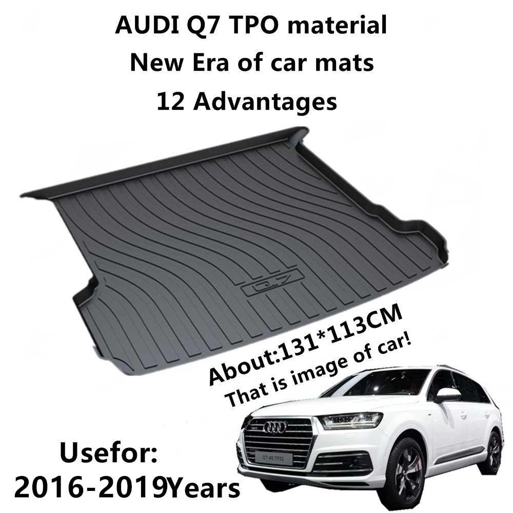 SJ ALL Weather TPO Car Trunk Mats Tail Boot Cargo Liner Cover Rear Cargo Tray Luggage Pad For AUDI Q7 2016 2017 2018 2019
