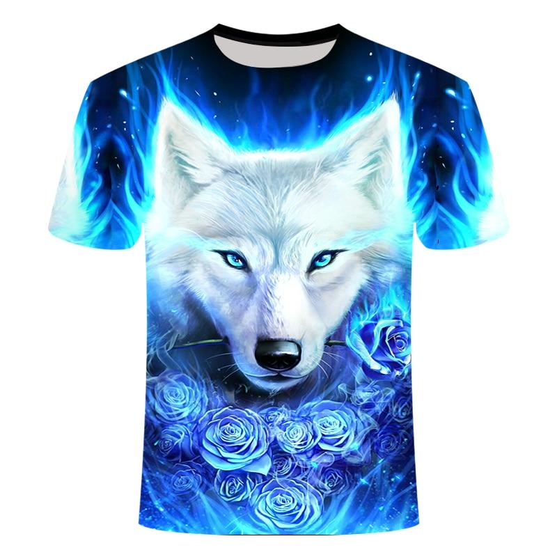 2019 Classic Blue Latest Snow Wolf 3d-printed T-shirt,cool Animal Pattern Tshirt Men's Short-sleeved Summer Shirt T-shirt
