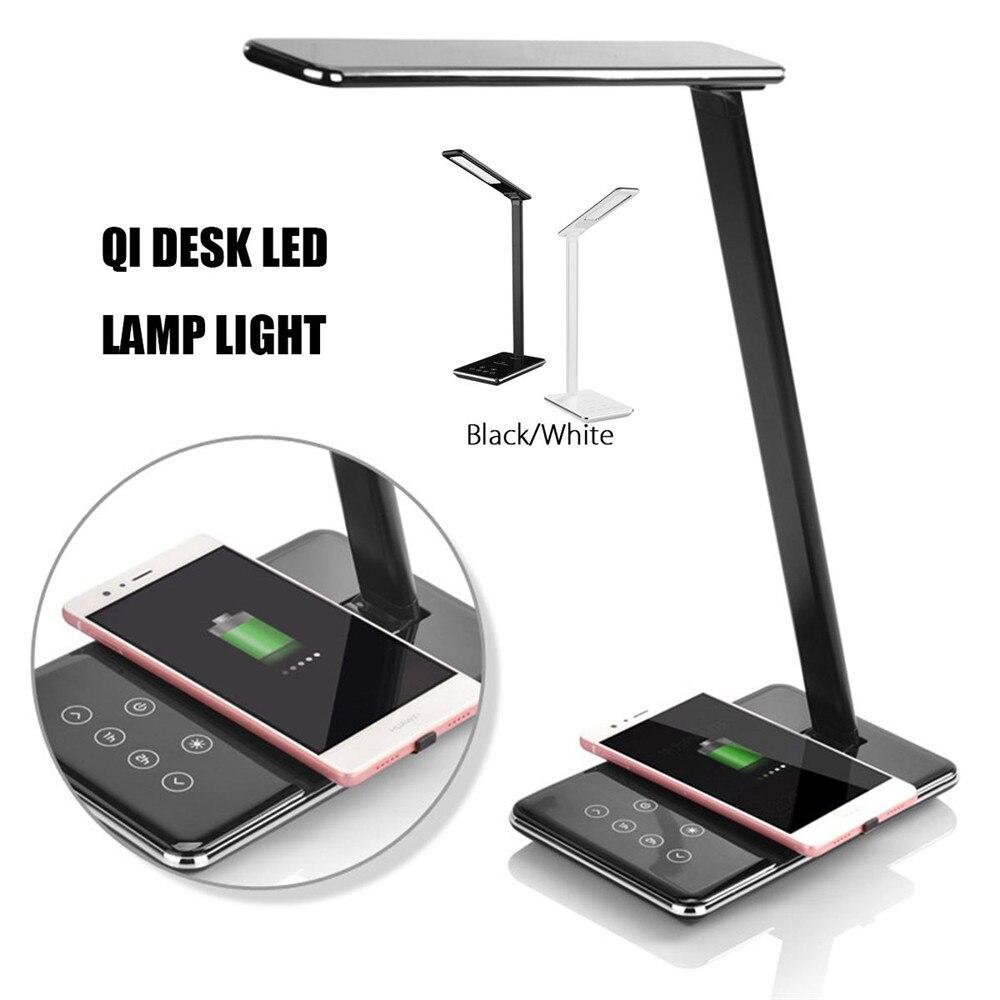 Qi светодиодный светильник для настольной лампы с затемнением, настольная лампа QI с беспроводным зарядным устройством, подставка для