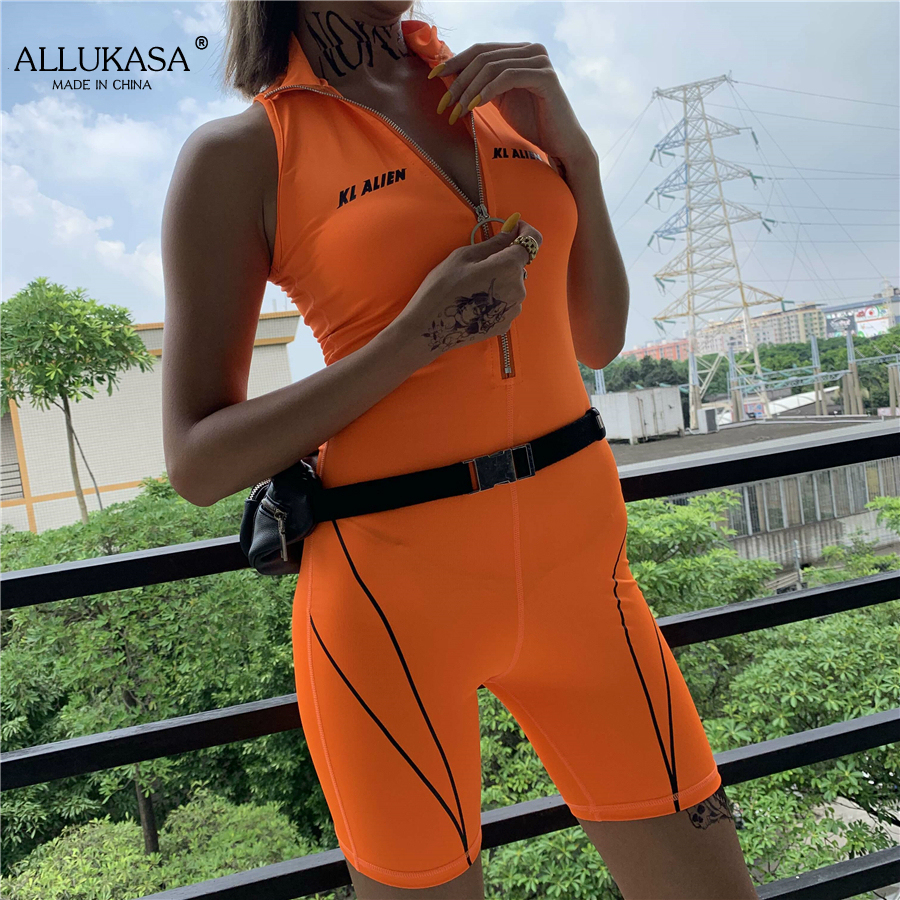 fitness Playsuits women active wear sleeveless zipper turtleneck letter print patchwork bodysuit sportswear slim outfits
