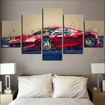 5 Pieces Sports Car Canvas Oil Painting Vehicle Posters Saloon Pictures For Home Modern Decor Limousine Wallpapers Artwork image
