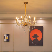 Französisch Stil luxus LED kristall kronleuchter lichter retro gold hängen licht wohnzimmer esszimmer schlafzimmer LED kronleuchter licht-in Kronleuchter aus Licht & Beleuchtung bei