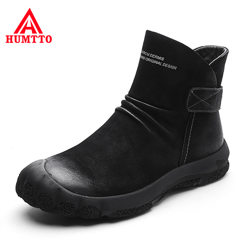 Buy Hot Sale Genuine Leather Winter Boots High-top Plus Velvet Warm Casual Men Shoes Fashion Thick Wool Mens Snow Boots